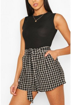Black Gingham Check Tie Waist Woven Shorts