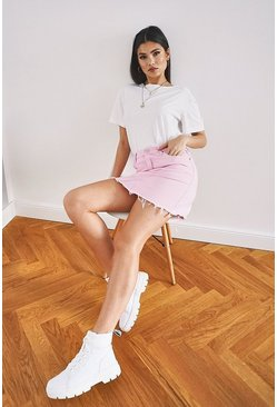 Pastel Pink Raw Hem Denim Skirt