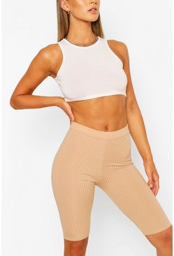 Camel Basic Ribbed High Waist Cycling Shorts