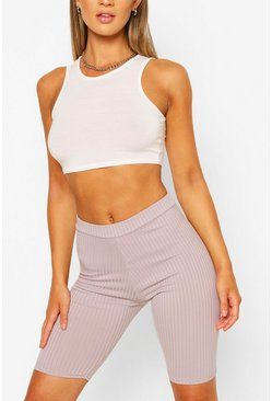 Grey Basic Ribbed High Waist Cycling Shorts