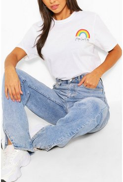 White POCKET RAINBOW T-SHIRT