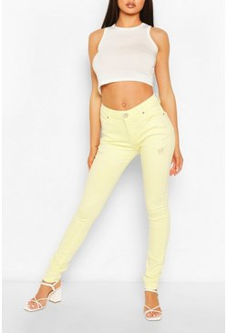 High Waist Stretch Pastel  Skinny Jeans, Lemon