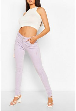High Waist Stretch Pastel  Skinny Jeans, Lilac