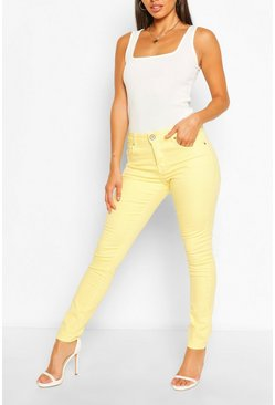High Waist Stretch Skinny Jeans, Lemon