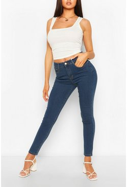 High Waist Super Stretch Skinny Jeans, Mid blue