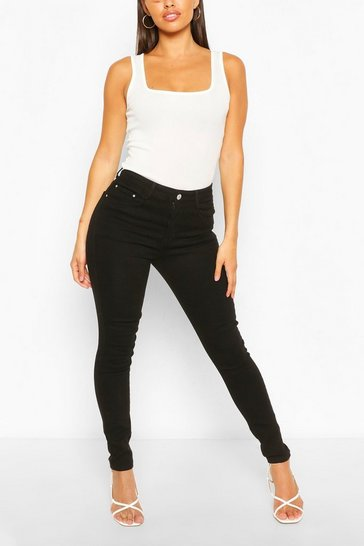 Black High Waist Super Stretch Skinny Jeans