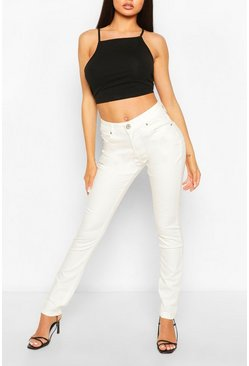 White High Waist Stretch Skinny Jeans