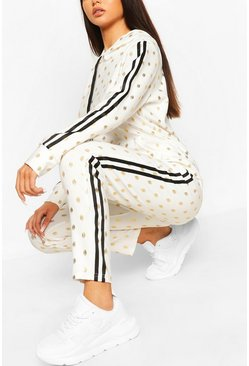White Foiled Spot Hoody & Jogger Lounge Set