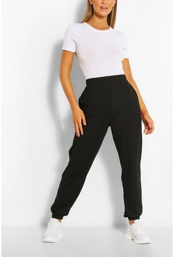Black Cuffed Hem Rib Jogger With Pockets