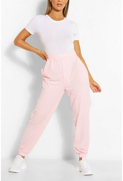 Cuffed Hem Rib Jogger With Pockets, Blush