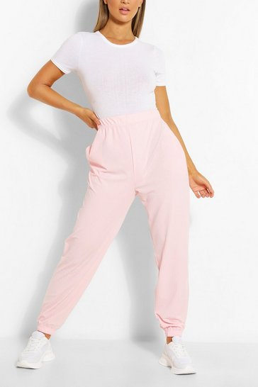 Blush Cuffed Hem Rib Jogger With Pockets