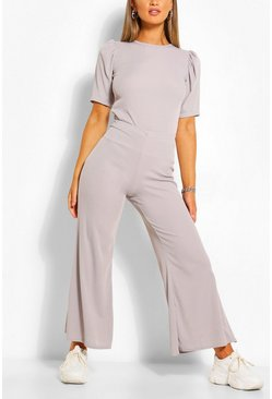 Grey Ribbed Puff Sleeve T-Shirt & Trouser Co-ord Set