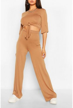 Camel Tie Front T-shirt & Trouser Co-ord Set