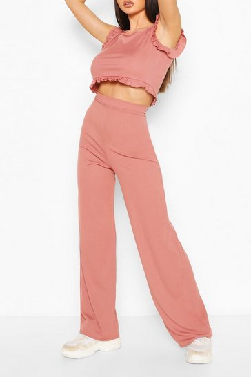 Blush Ribbed Frill Detail Crop Top & Trouser Co-ord Set