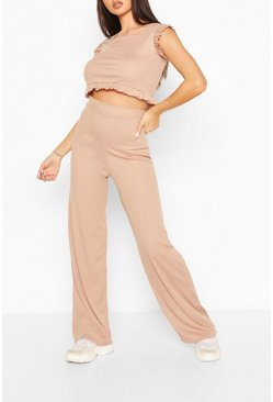 Stone Ribbed Frill Detail Crop Top & Trouser Co-ord Set