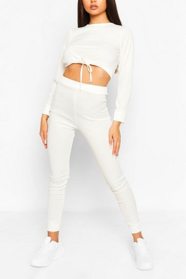 Ecru Ribbed Drawstring Crop & Legging Co-ord Set