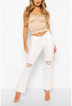 White Low Rise Disressed Denim Flares
