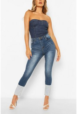 Mid blue High Waist Stretch Skinny Jeans