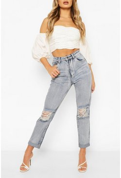 Mid blue Mid Rise Distressed Boyfried Jeans