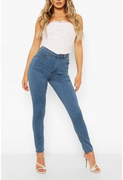 Mid blue High Waist Stretch Super Skinny Jeans