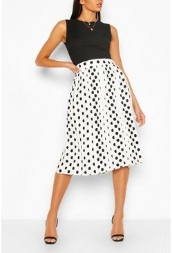 Polka Dot Pleated Midi Skirt, Ivory