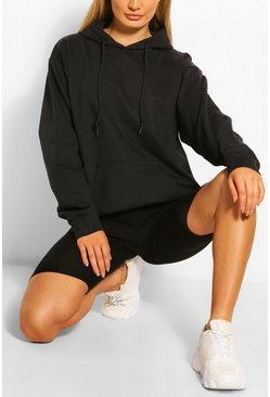 Basic Oversized Hoody , Black