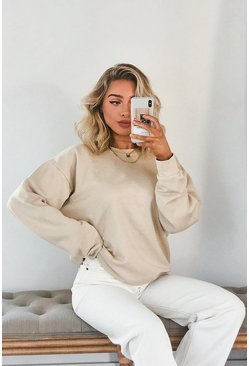 Sand Basic Oversized Sweatshirt