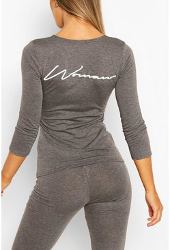 Charcoal Fit Woman Script Gym Top