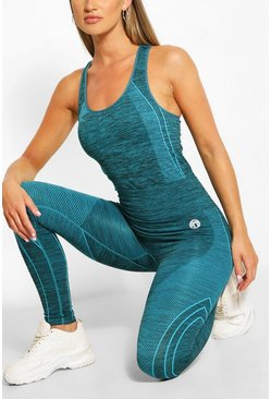 Blue Space Dye Running Leggings