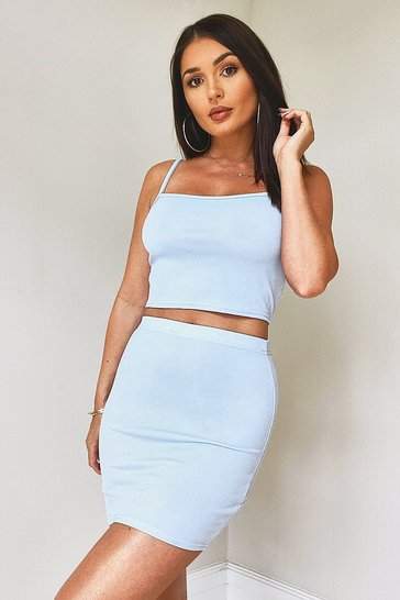 Blue Strappy Crop & Mini Skirt Co-Ord Set