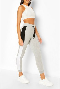 Grey Side Stripe Colourblock Tie Waist Jogger