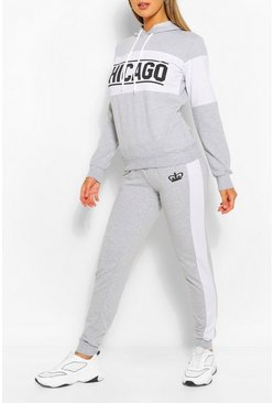Grey Colourblock Chicago Slogan Tracksuit