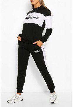 Colourblock California Slogan Tracksuit , Black