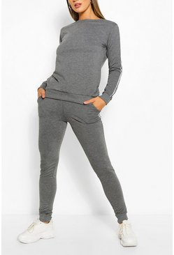 Side Detail Sweater & Jogger Set, Charcoal