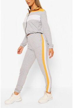Orange High Neck Colourblock Tracksuit