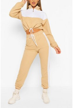 High Neck Colourblock Tracksuit, Stone