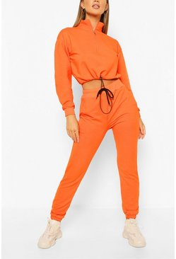 High Neck Sweat & Jogger Tracksuit, Orange