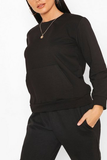 Black Pocket Detail Sweat