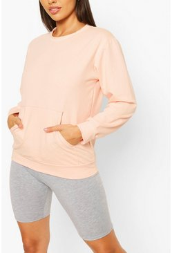 Pocket Detail Sweat, Pale pink
