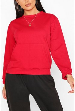 Pocket Detail Sweat, Red