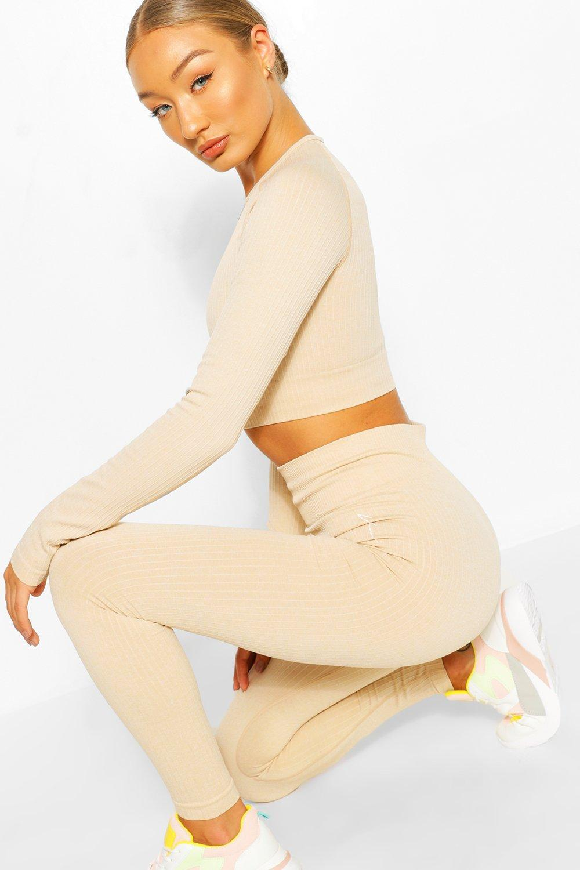 womens rib seamless workout leggings - beige - s