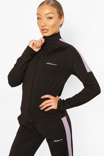 Black Active Raglan Zip Through Funnel Neck Top