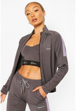 Charcoal Active Raglan Zip Through Funnel Neck Top