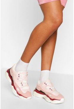 Pink Chunky Sole Lace Up Sneakers