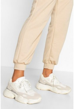 White Chunky Sole Lace Up Sneakers