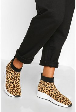 Leopard Knitted Sock Trainers