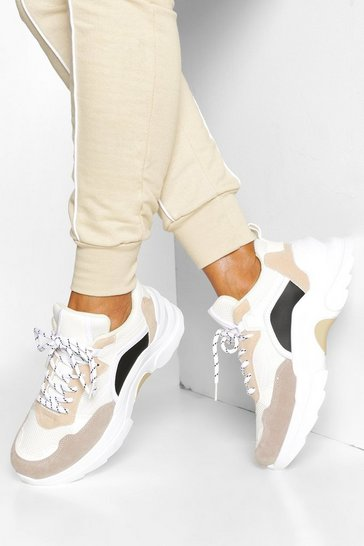 White Mixed Panel Chunky Platform Trainers