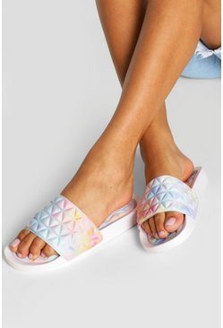 Multi Quilted Padded Sock Pool Sliders