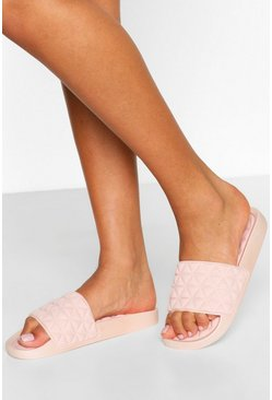 Pink Quilted Padded Sock Pool Slides