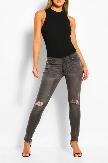 Grey Low Rise Distressed Stretch Skinny Jean